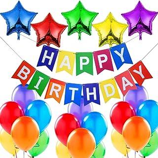 """Décorations Anniversaire - Banderole Bannière de Joyeux Anniversaire """"Happy Birthday"""", 5 Ballons Aluminium Etoiles, 18 Bal..."""
