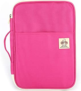 JAKAGO Warterproof Travel Portfolio Carrying Cases Passport Holder Tablet Sleeve Storage Bag Document Organizer for Travel Office Business Holiday Meeting Interview (Pink)