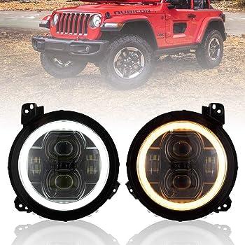 2 Pcs BICYACO LED Side Maker Lights for Jeep Wrangler JL 2018 2019 Smoke Lens Fender Flares Lamps