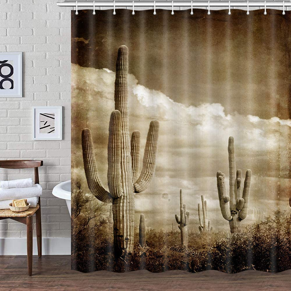Western Cactus Decor Shower Curtain for Bathroom, Vintage Tropical Succulent Plant Desert Fabric Shower Curtains Set, Southwestern Restroom Accessories with Hooks 72X72Inches