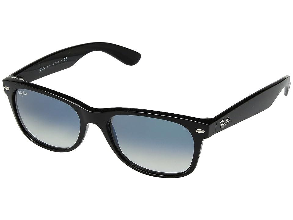 Ray-Ban RB2132 New Wayfarer 52mm (Black/Clear Gradient Green) Sport Sunglasses