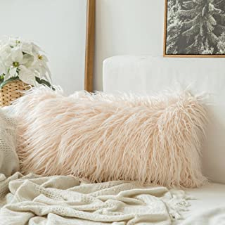 MIULEE Decorative New Luxury Series Style Pink Faux Fur Throw Pillow Case Cushion Cover for Sofa Bedroom Car 12 x 20 Inch 30 x 50 cm