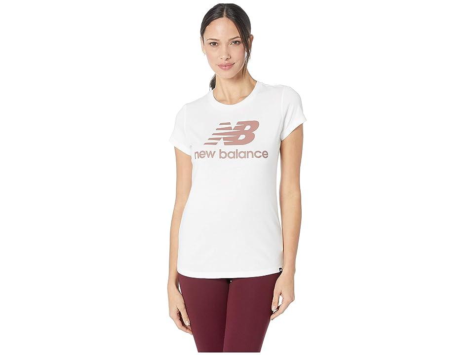 New Balance Essentials Logo Tee (White Print) Women
