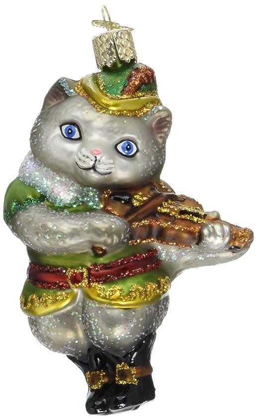端末魔術師卒業記念アルバムOld World Christmas Cat & Fiddleのガラス吹きオーナメント