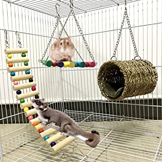 Leeko Pet Hammock Hamster Hanging Toy, Set House Hanging Bed Cage Toys for Small Animal Sugar Glider Squirrel Chinchilla Hamster Rat Playing Sleeping