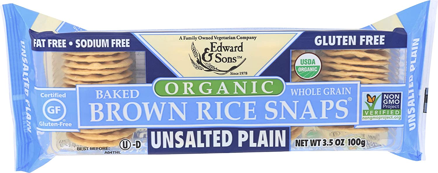 Edward Sons Rice Snaps Free shipping Plain 3.5 Organic Unsalted lowest price Ounce