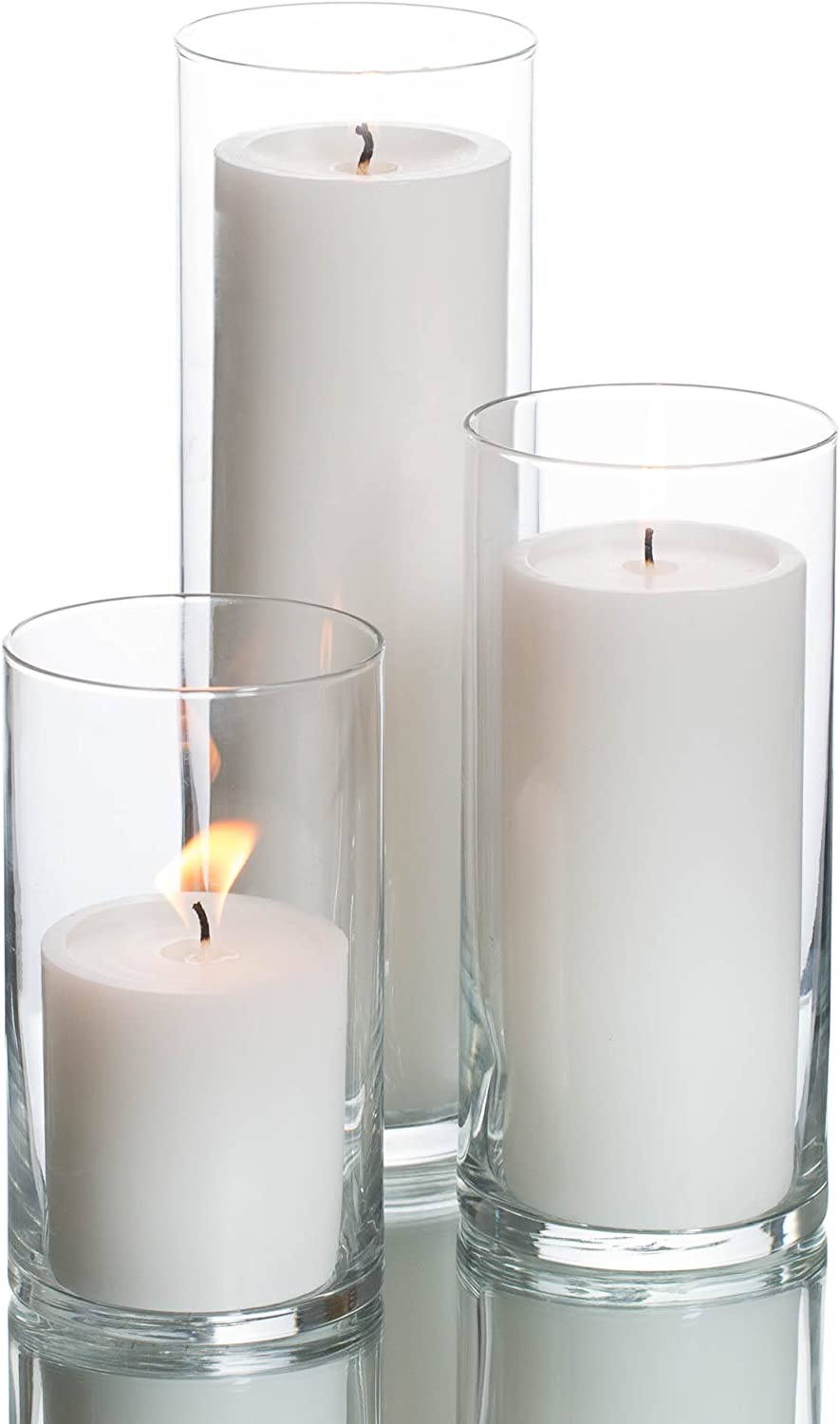 Reservation Set Special sale item of 3 Glass Eastland Cylinder and Vases Richland Pill White