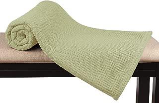 GLAMBURG 100% Soft Premium Cotton Thermal Blanket (King Blankets 90x102) Soft Cozy Warm Cotton Waffle Design Blanket– Bed Throw Blanket– All Season Cotton Blanket - Sage