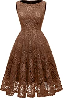 Kingfancy Women Floral Lace Bridesmaid Party Dress Short Cocktail Dress with Boatneck