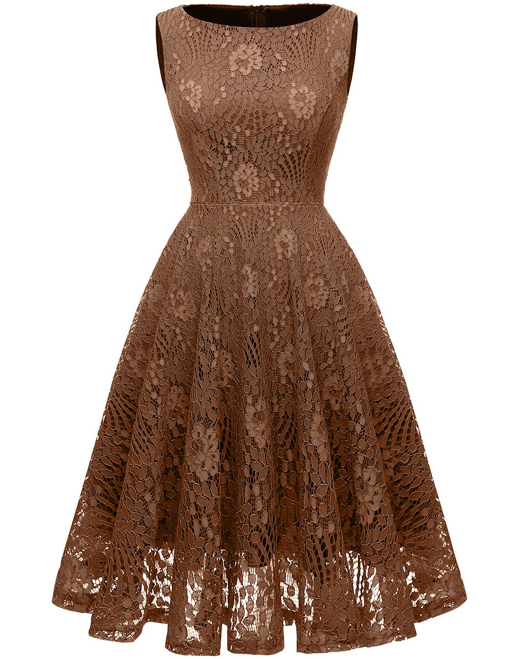 Available at Amazon: Kingfancy 50s Homecoming Dress 1950 Cocktail Lace Vintage Dresses Crew Neck Prom Bridesmaid Dress