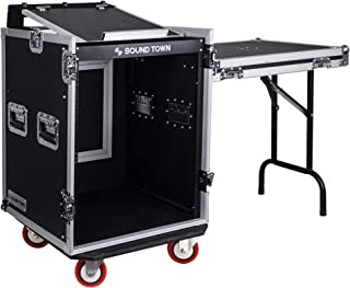 Sound Town 14U PA DJ Rack/Road ATA Case with 11U Slant Mixer Top, 20'' Rackable Depth, DJ Work Table and Casters, 14 Space Size (STMR-14UWT)