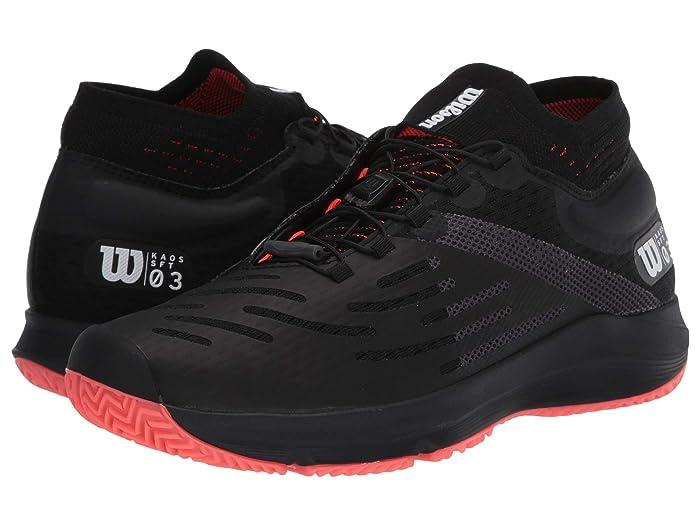 Wilson  Kaos 3.0 Sft (Black/White/Fiery Coral) Mens Tennis Shoes
