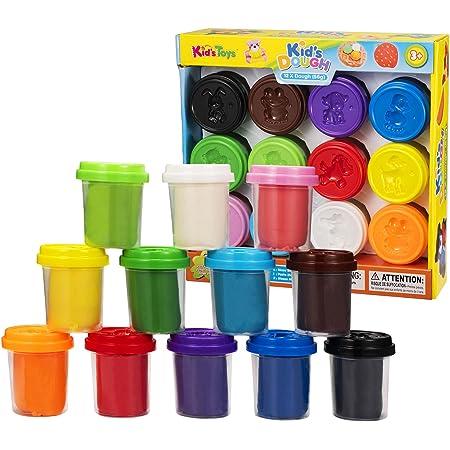 Pasta di argilla per bambini, 12 colori, 12 barattoli, 75 g / barattolo, 1 kg in totale, argilla da modellare magica atossica per bambini, dolcetto o scherzetto, premi di classe, materiale scolastico