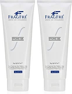 FRAGFRE Hair Styling Gel 2/Pack 8 oz ea - Fragrance Free Parabens Free Hypoallergenic - Irritation Free Styling Gel for Sensitive Skin - for Men Women and Children - Gluten Free Vegan Cruelty Free