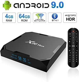 Android 9.0 TV Box, X96 MAX Android TV Box 4GB RAM 64GB ROM Amlogic S905X2 Quad-core Cortex-A53, Dual Band WiFi 2.4G+5G/1000M Ethernet/BT 4.1/USB 3.0/H.265 3D 4K@75fps Smart Media Player OTT Box
