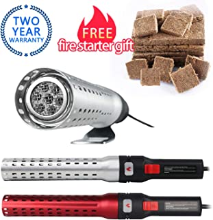 MIGI WOLF Electric Charcoal Firestarter, Igniter Grill Starter Super Quick BBQ Lighting Indoor or Outdoor Update for 60 Second Charcoal Lighter Blower Fireplace Campfire with 1 boxFire Starter Strips