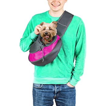 Cuddlissimo! Pet Sling Carrier - Small Dog Cat Sling Pet Carrier Bag Safe Reversible Comfortable Adjustable Pouch Single Shoulder Carry Tote Handbag for Pets Below 6lb