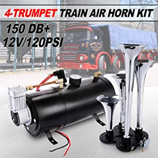 Juane 150DB Train Air Horn Kit for Trucks, 4 Trumpet Super Loud Air Horn with 120PSI 12V Compressor and Gauge for Car Train Van Boat Trucks SUV Vehicle(Black)