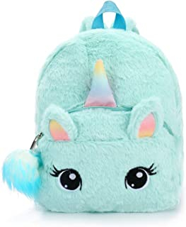 Mochila con diseño de Unicornio Mochilas Infantiles de Peluche para niños de 2 a 6 niña con Colgante de Bola de Pelo (Azul)