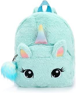 Fluffy Unicorn Backpack, Dokfin Cute Soft Rainbow Bookbags, Mini Plush Unicorn Backpack For Women Sweet Girls Toddler Daughter (Light blue)