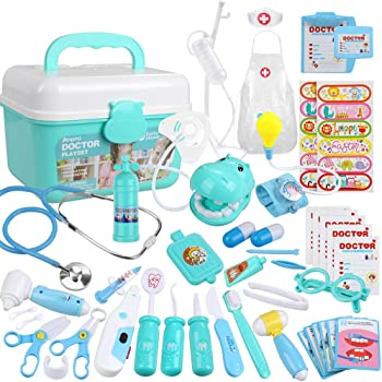 Doctors Set For Kids Role Play Dentist Surgeon Vet Medical Toys 30 Accessories