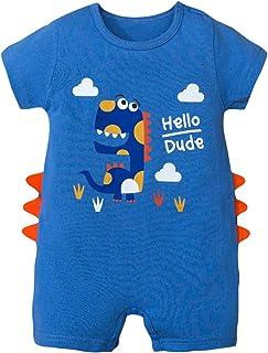 HUBA Neugeborenes Baby Kurzarm Strampler Overall Cartoon Drucken Einteiliger Jumpsuit Bodysuit Mädchen Junge Sommer 0-24 Monate