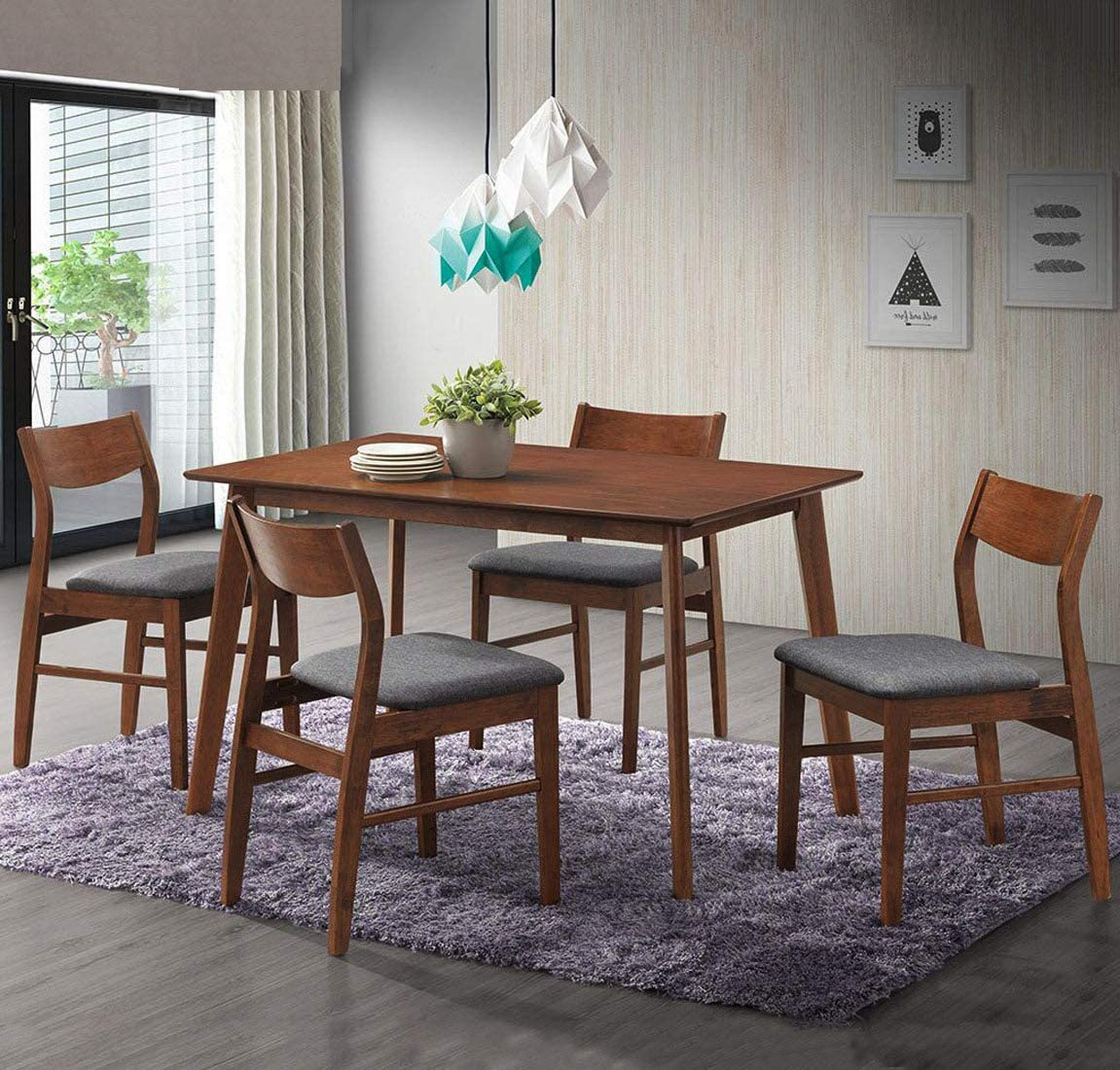 Dporticus 5-Piece Kitchen Dining Wooden and Dedication Selling Sets Table