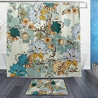 NUXIANY Shower Curtain Set with Hooks, Vintage Vector Seamless Wallpaper Swirls Hand Bathroom Mat Set Decor Bath Mat Extra Long, W72 xH72