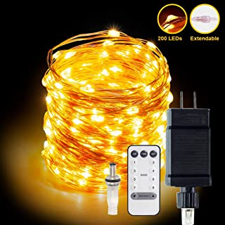 LED String Lights 66ft 200 LEDs Fairy Lights Plug in Extendable Waterproof Dimmable Outdoor/Indoor Starry String Lights, Warm White Copper Wire String Lights with Remote for Wedding Garden Room Patio