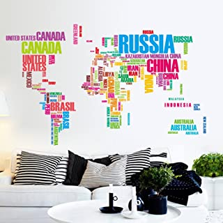 Flexzion DIY Wall Sticker Removable World Map Colorful USA Letters Country Name Art Decal Home Decor Durable for Nursery Children Mural Living Dining Room Televsion Walls