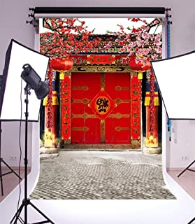 Laeacco 3x5ft Vinyl Photography Backdrop Chinese Classical Theme Spring Festival Scene Photo Background Studio Props for New Year Family Decoration