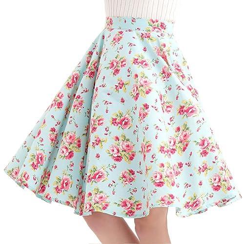 7563fda76cf24 100% Cotton Polka Dot Floral 50s Vintage Retro Swing Full Circle Skirt