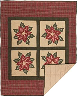 VHC Brands Seasonal Decor National Museum Poinsettia Block Tan Quilted Throw