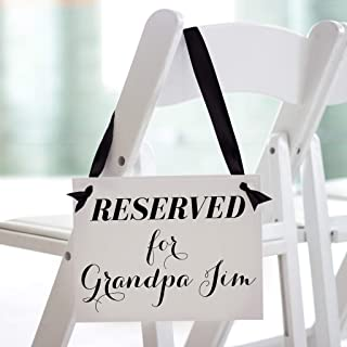 Personalized Reserved Seat Sign For Chair Custom Name Banner Wedding Ceremony or Reception | Table Aisle Row Seats Banner