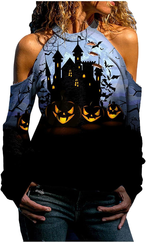 BHSJ Women Casual Off Shoulder Tops Halloween Lantern Ghost Pumpkin Print Hollow Out Shirt Casual Long Sleeve Blouses