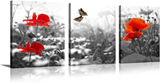 Youk-art Decor 3 Panels Black And White Red Flower Butterfly Photograph Printed on Canvas for Home Wall Decoration