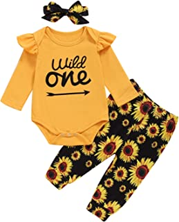 Best Baby Girls Wild One Outfit Set Birthday Floral Tops Pant Clothing Set Review