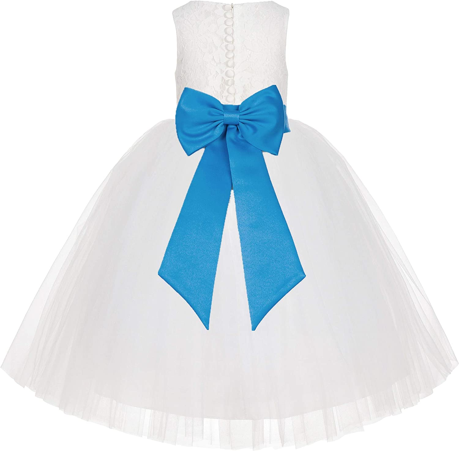 Ivory Floral Lace Flower Girl Dress Junior Bridesmaid Ceremonial Gown LG7