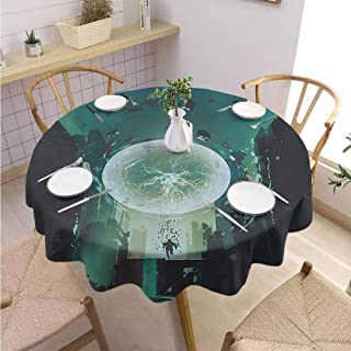 Round Tablecloth Fantasy Will not Fade Ball and Human Merging Building Dark Feeling Magic Featured Comics Fiction Artwork,Round – 36 inch Teal Black
