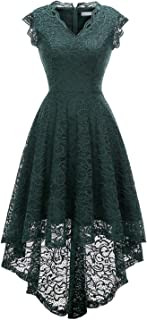 Womens Floral Lace Wedding Formal High Low Cocktail Prom Party Dress