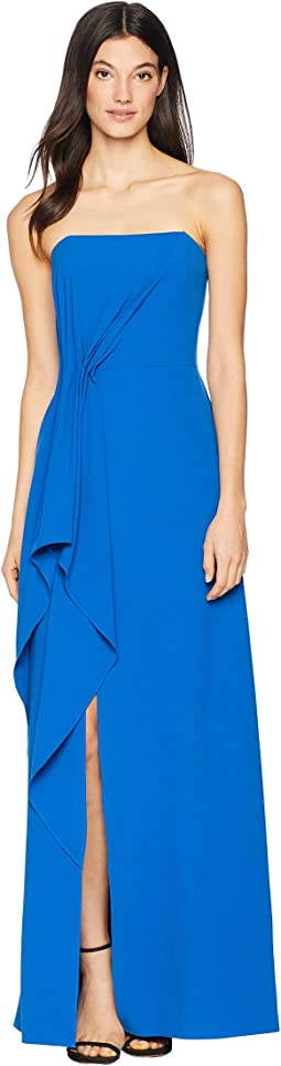 Strapless Drape Front Crepe Gown