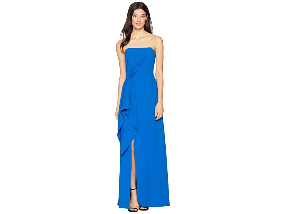 Halston Heritage Strapless Drape Front Crepe Gown (Cobalt) Women
