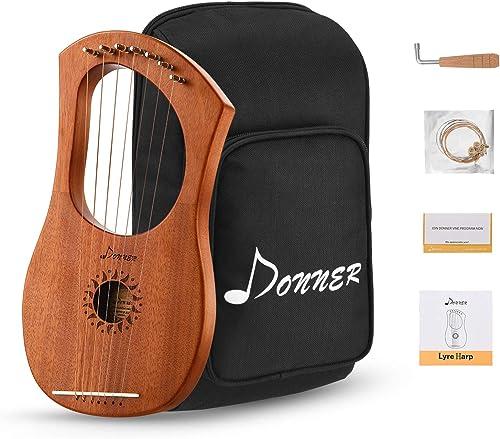 Donner Lyre Harpe en Acajou 7 Cordes en Métal avec Clé à Accorder, Housse de Transport