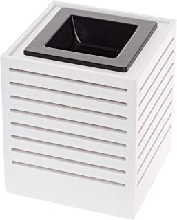 Mindful Design Modern Cut Wax Warmer - Wood Finish Sliced Frame Freshener Wax Melter to Brighten Up Your Living Room, Bathroom, Bedroom and Kitchen (White)