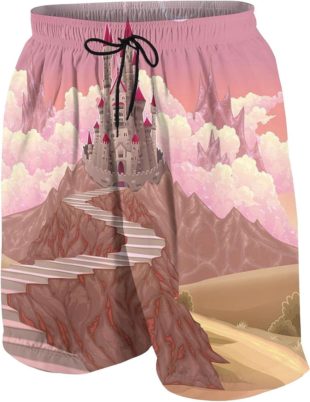 TENJONE Teen Beach Pants Slim Fit Swim Trunks Beach Half Pants for Teens Boys,Princess Castle Cartoon Like Image On The Hill with Sunset Image Art Print,Quick Dry Swimwear White,S(7-8
