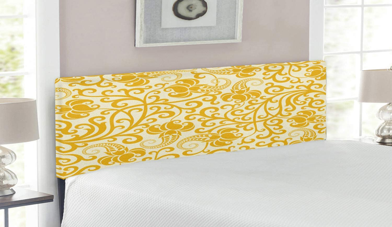 Ambesonne Art Nouveau Headboard Rococo Bloo Style A surprise price is realized Curved Max 59% OFF Spring