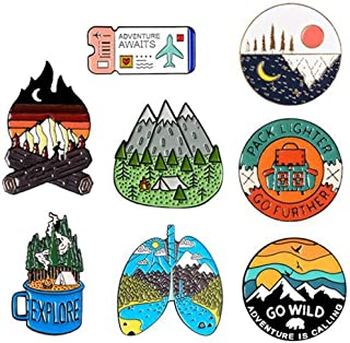 Shinmond 12 Styles Go Travel ! Adventure Pin Mountain Forest Lakes Earth Explore Nature Bus Enamel Pin Button Badge Brooch...