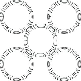 Tatuo 5 Pieces Metal Wreath Frame Ring Round DIY Macrame Floral Crafts Wire Wreath Form Christmas Decoration Door Craft (D...