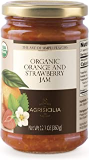 USDA Organic Sicilian ORANGE with STRAWBERRY Jam, 12.7oz. (PACK OF 6)