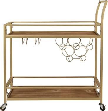 "FirsTime & Co. Francesca Bar Cart, 32""H x 15""W x 12.25""D, Gold"